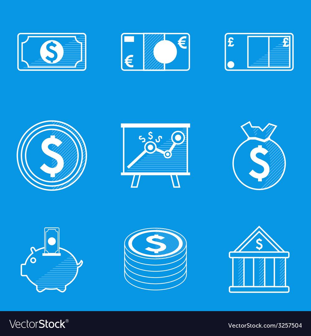 Blueprint icon set money vector | Price: 1 Credit (USD $1)