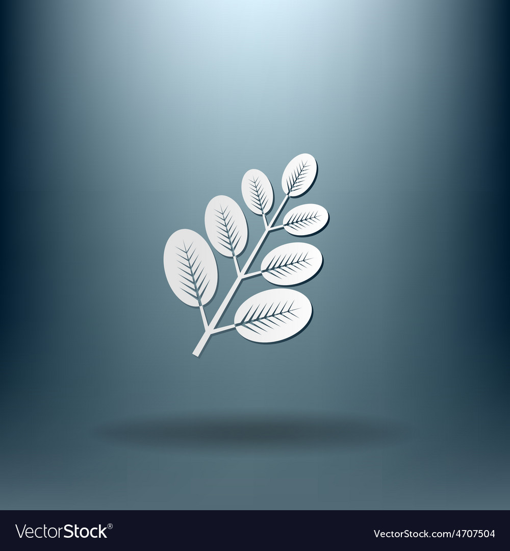 Branch with leaves symbol icon geometry teaching vector | Price: 1 Credit (USD $1)