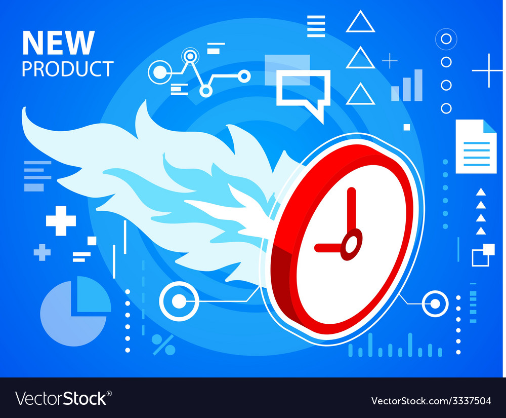 Bright fire and clock on blue background for vector   Price: 3 Credit (USD $3)