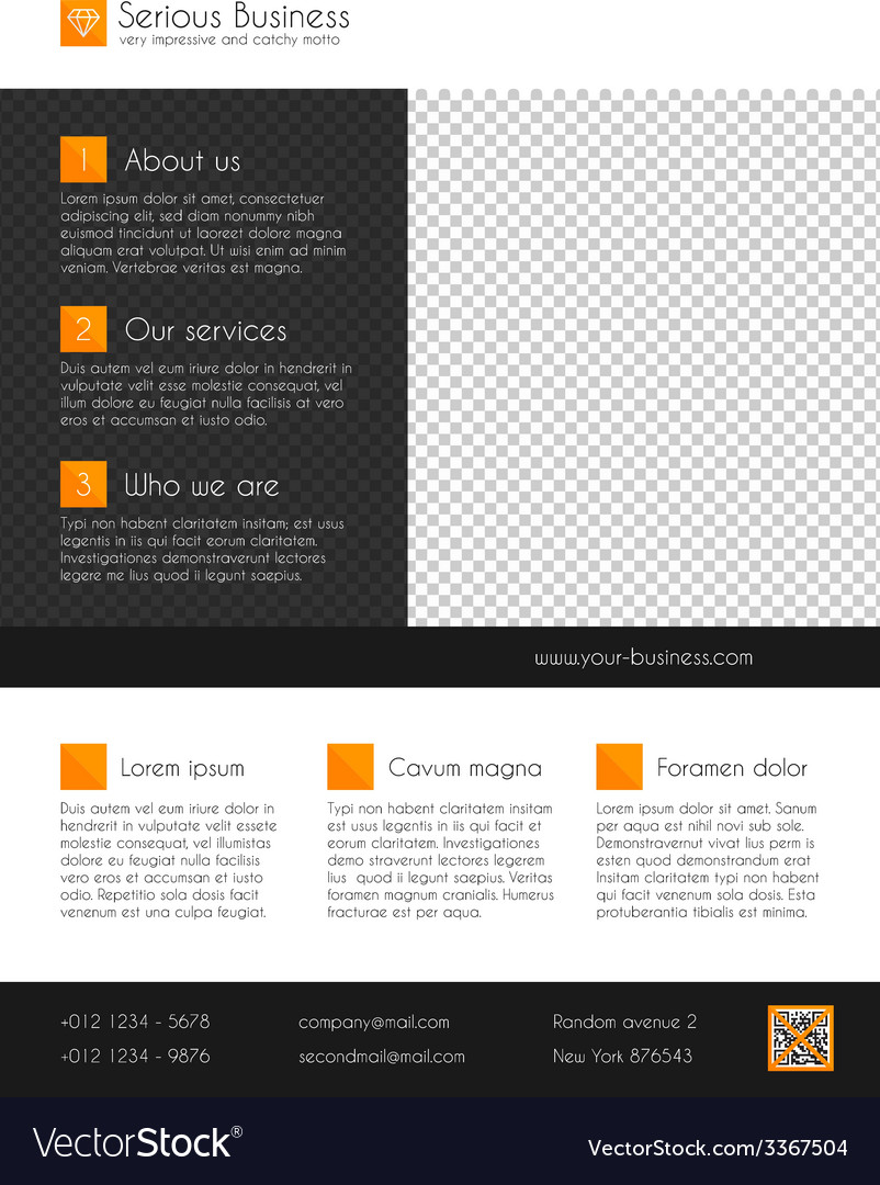 Corporate business flyer template orange and grey vector