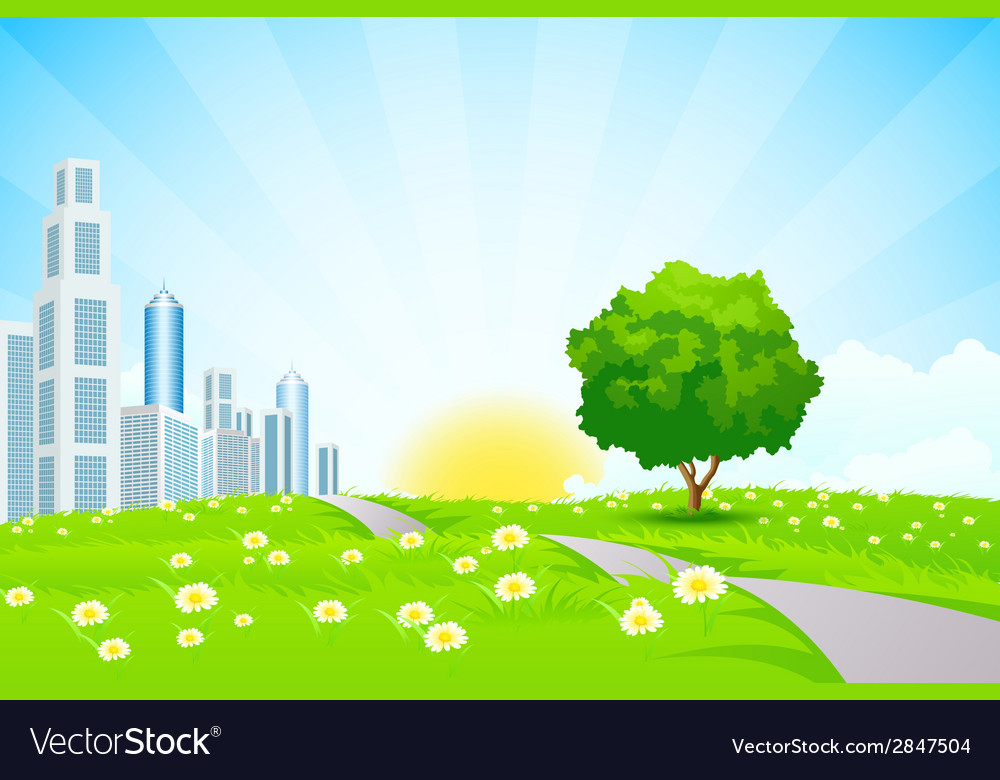 Green landscape with trees city and clouds vector | Price: 1 Credit (USD $1)