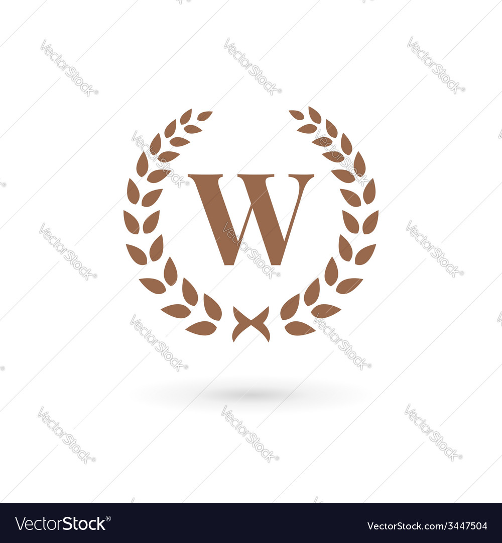 Letter w laurel wreath logo icon design template vector | Price: 1 Credit (USD $1)