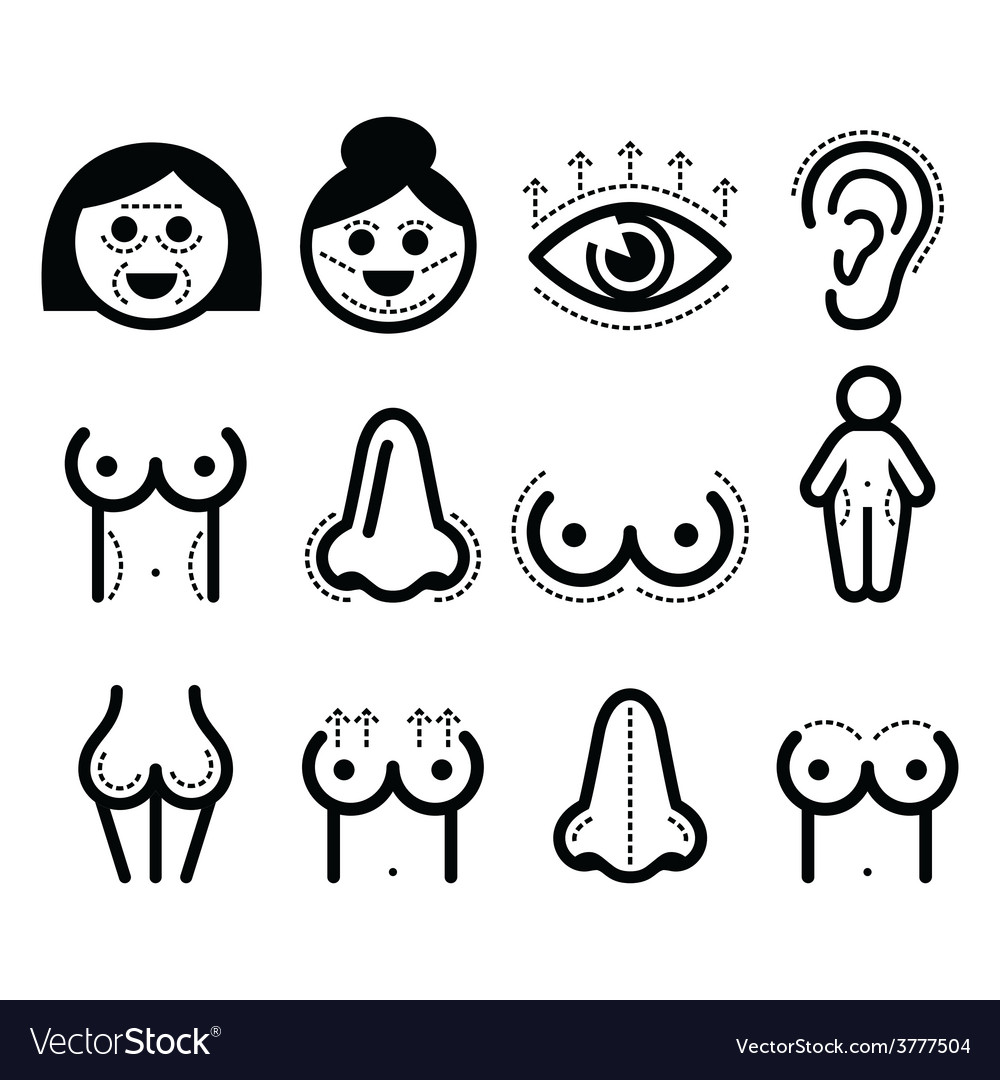 Plastic surgery beauty icons set vector | Price: 1 Credit (USD $1)