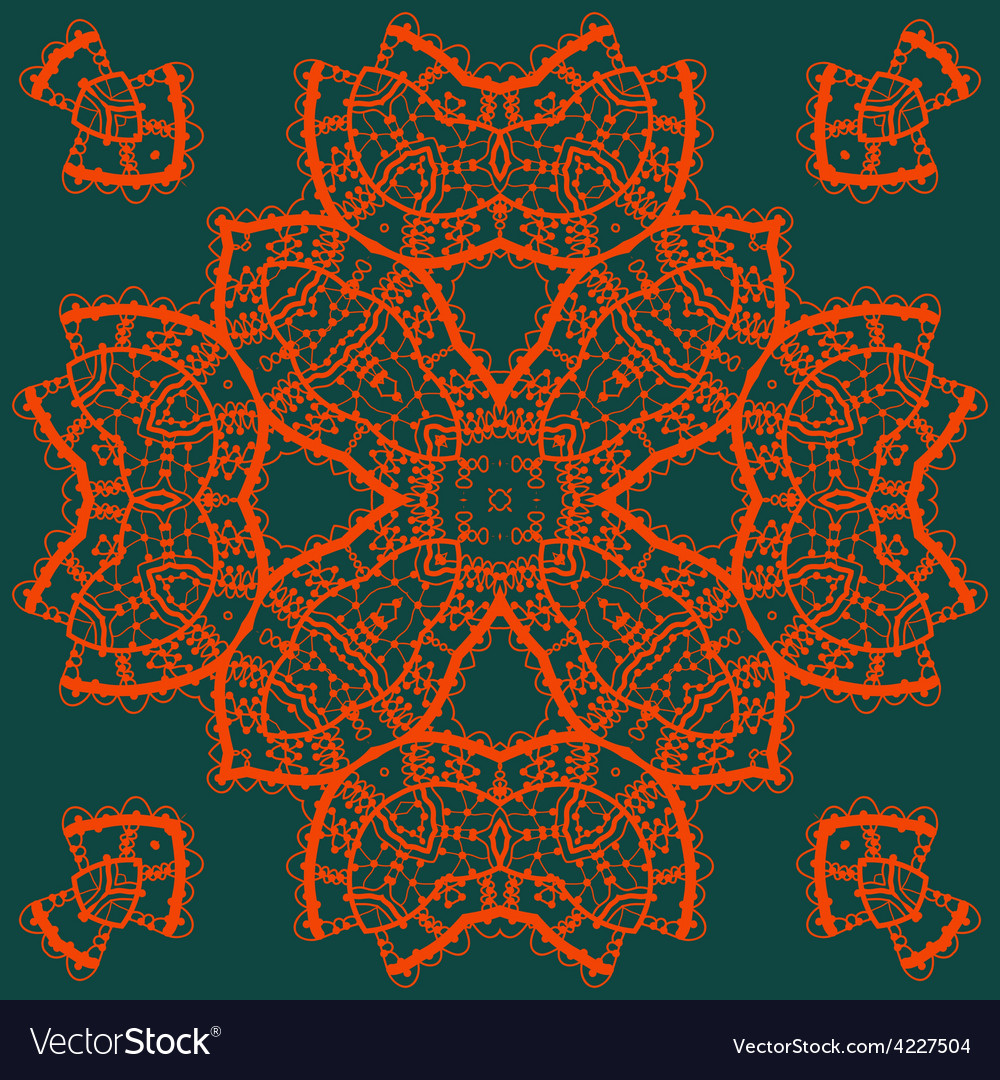 Red outlined mandala medallion on green  vintage vector | Price: 1 Credit (USD $1)