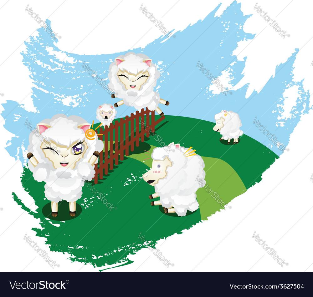 Sheep jumping2 vector | Price: 1 Credit (USD $1)
