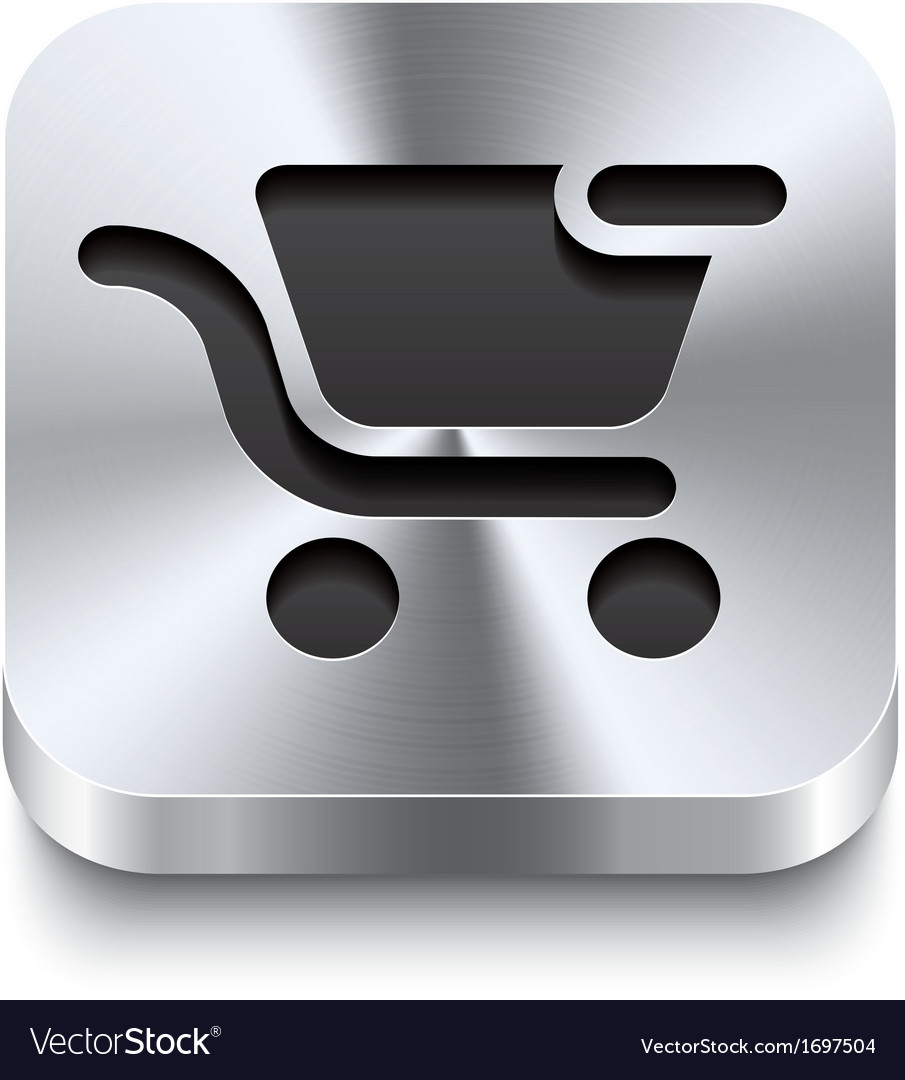 Square metal button - shopping cart remove icon vector | Price: 1 Credit (USD $1)