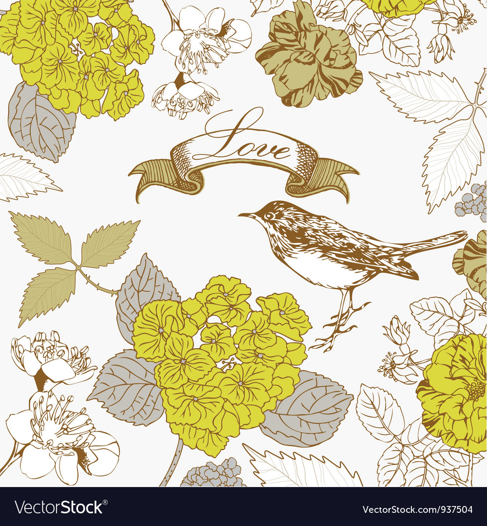 Vintage love birds pattern vector | Price: 1 Credit (USD $1)