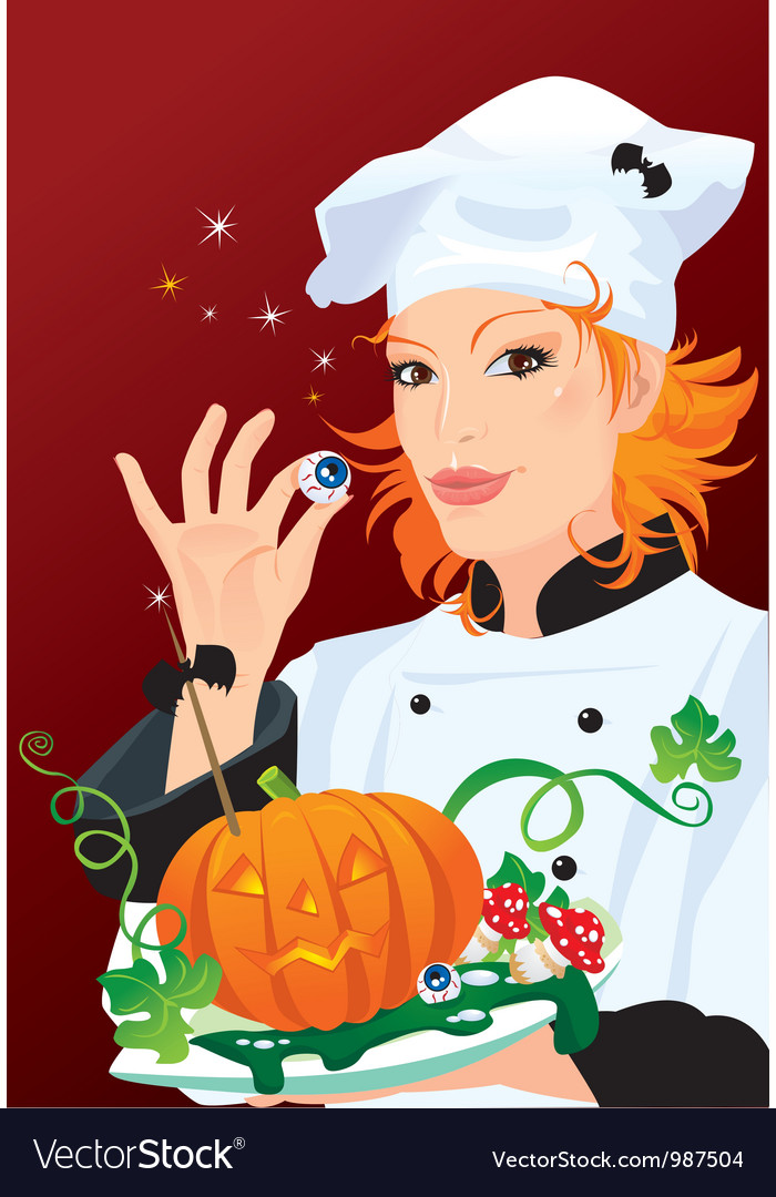 Witch - chef cooking for halloween party vector | Price: 3 Credit (USD $3)