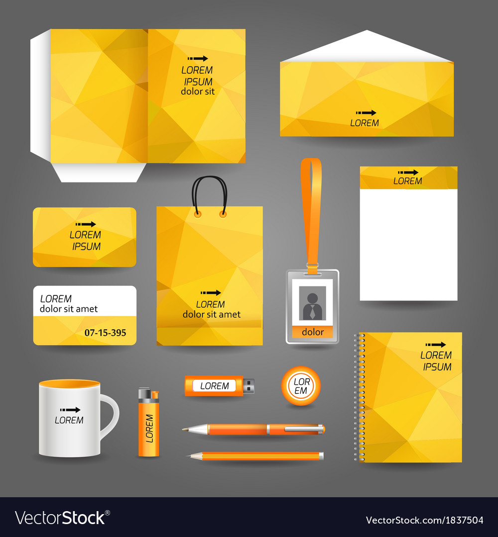 Yellow geometric technology business stationery vector | Price: 1 Credit (USD $1)