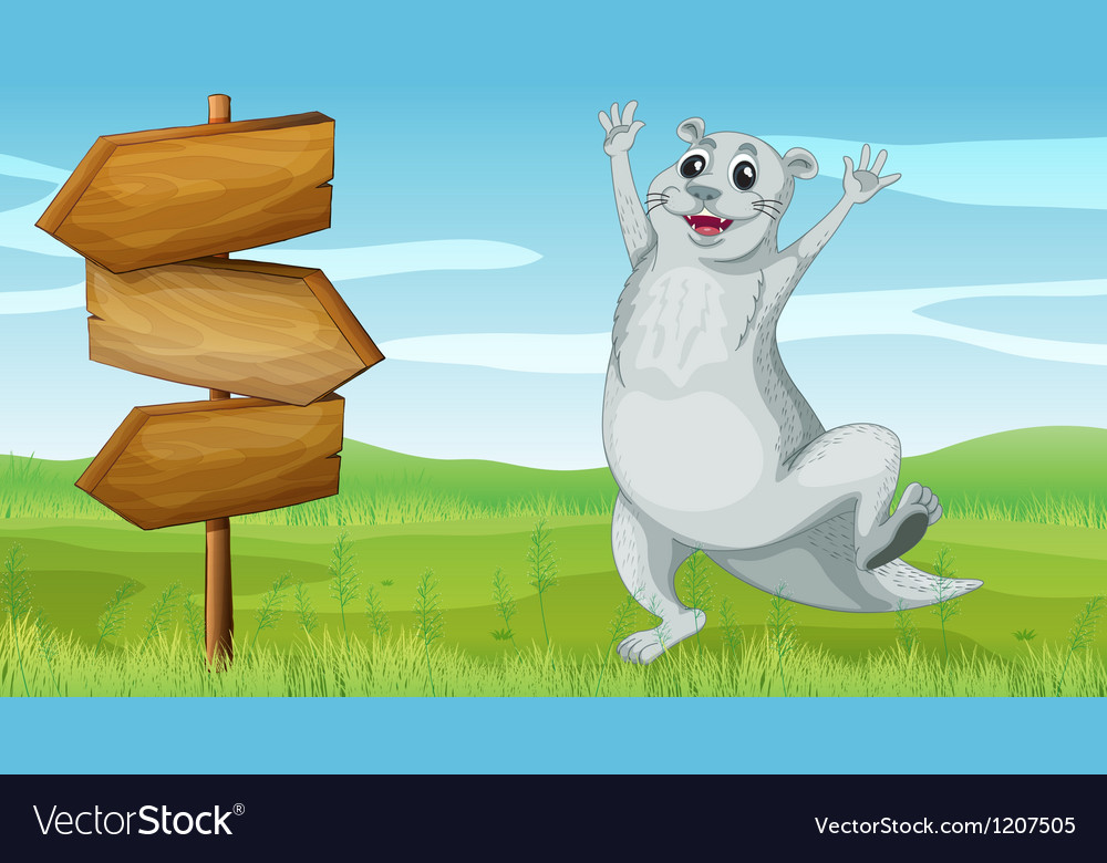 An animal beside a wooden arrow board vector | Price: 1 Credit (USD $1)