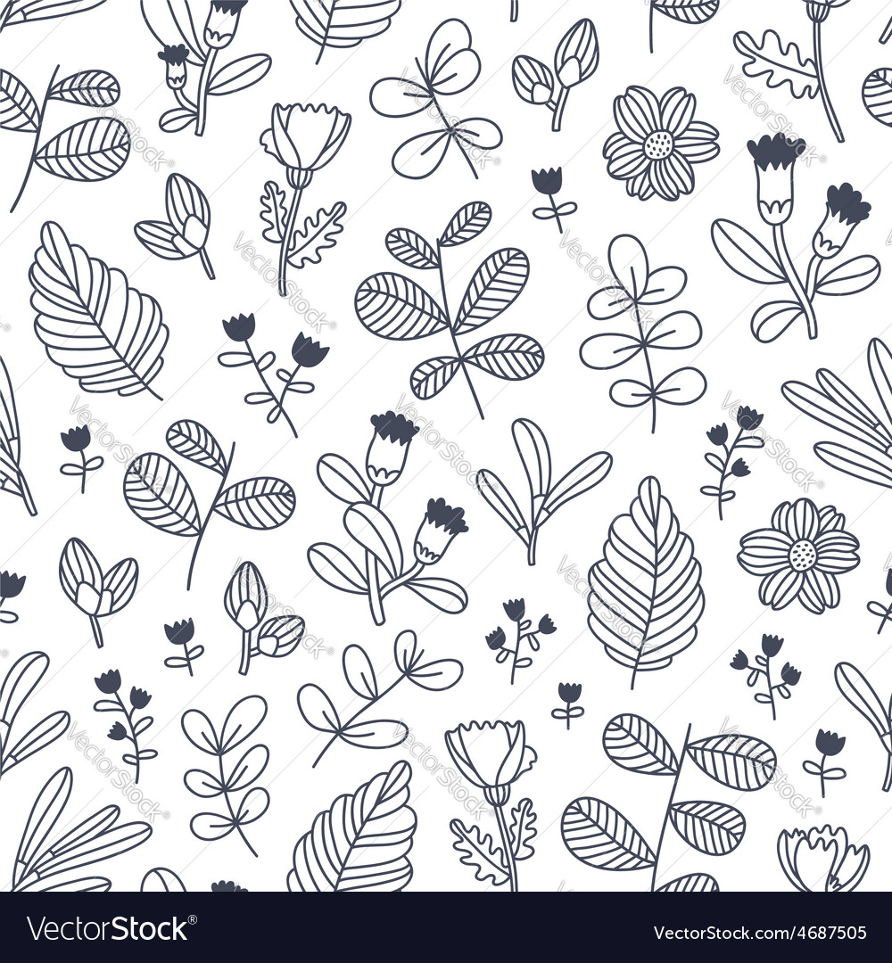 Black and white decorative floral seamless pattern vector | Price: 1 Credit (USD $1)