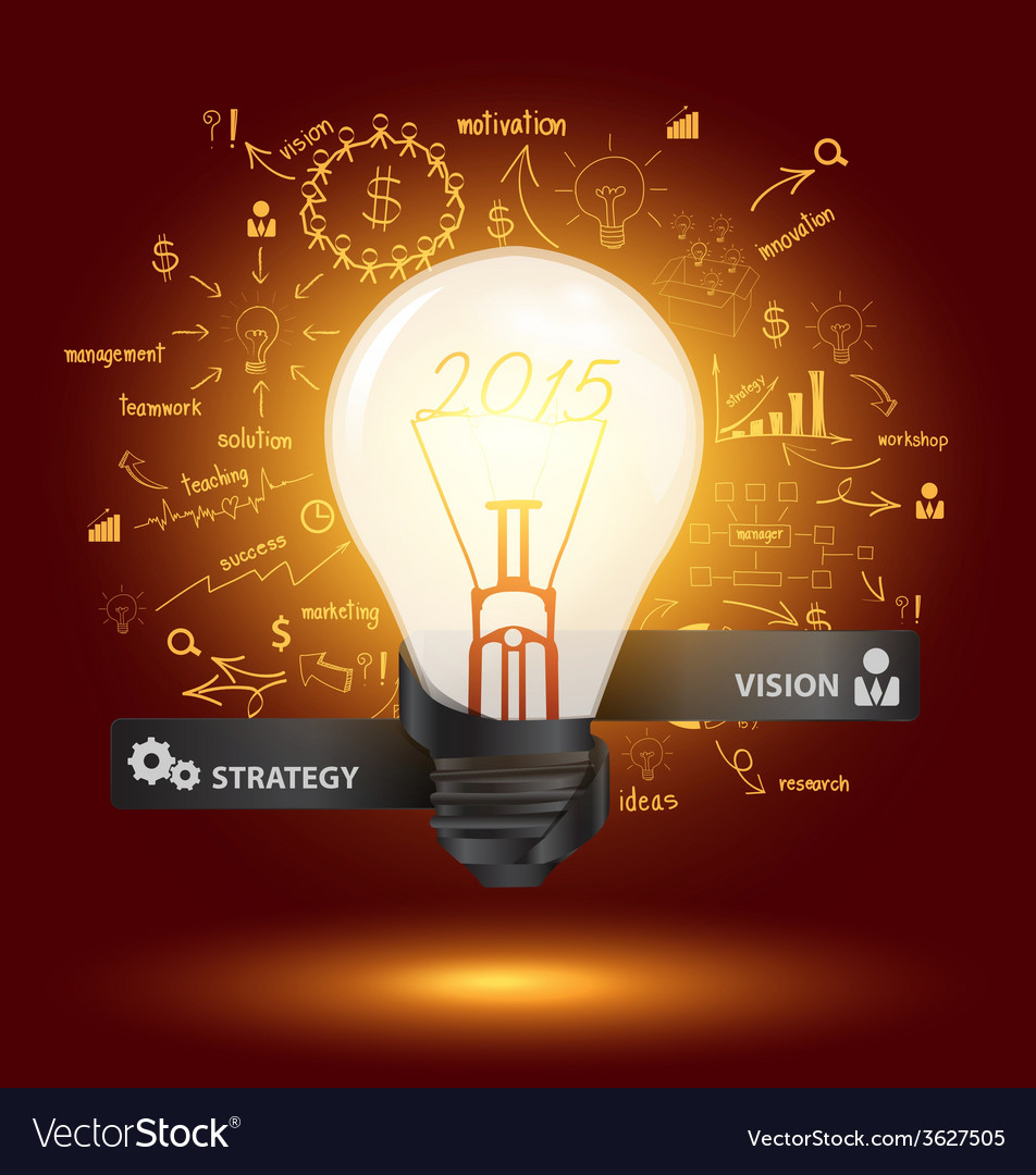 Creative light bulb with drawing charts and graphs vector | Price: 1 Credit (USD $1)