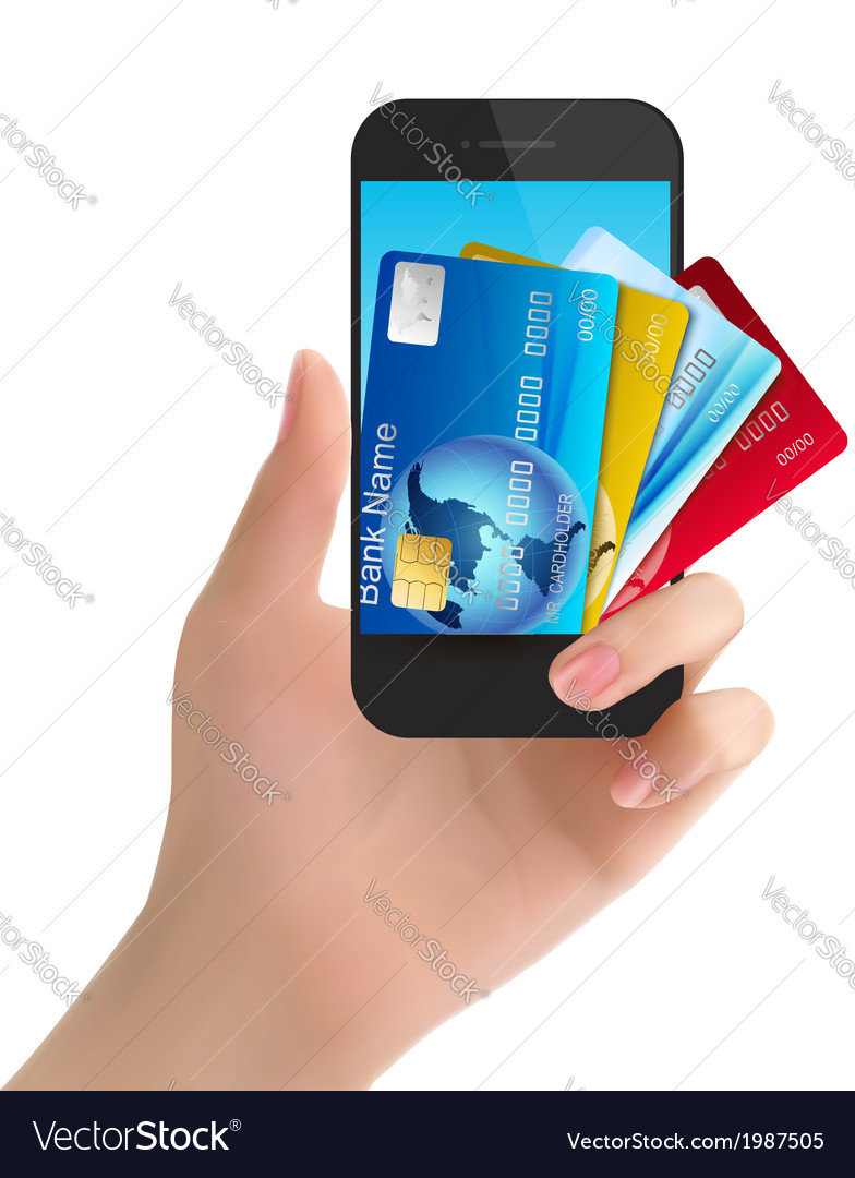Credit cards in a phone internet banking concept vector | Price: 1 Credit (USD $1)