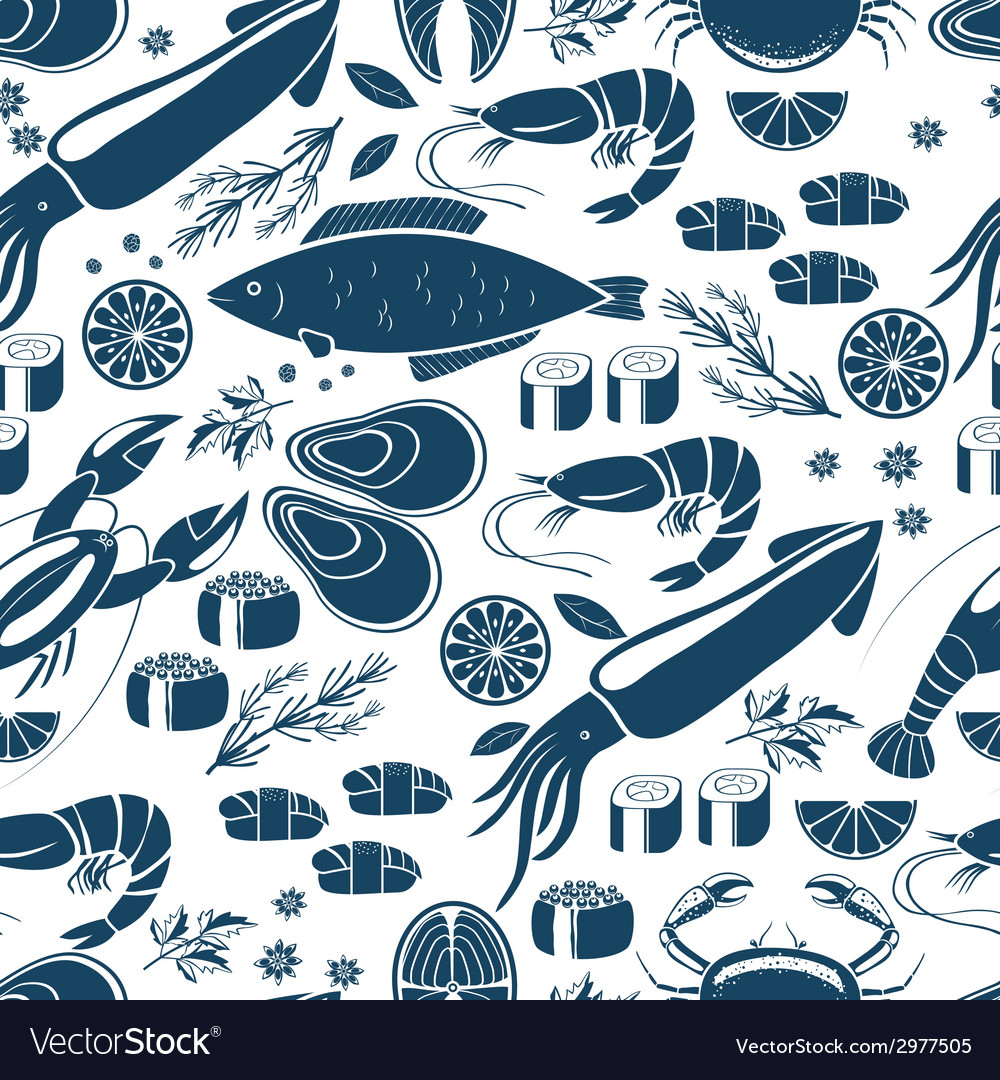 Fish sushi and seafood seamless background vector | Price: 1 Credit (USD $1)