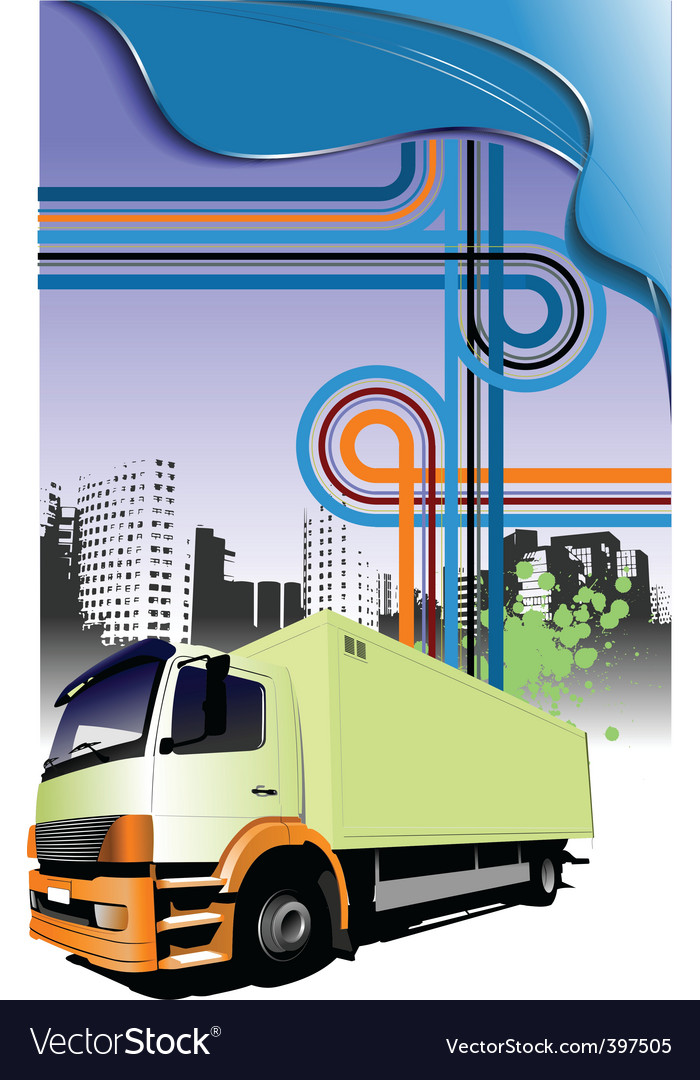 Lorry and junction vector | Price: 1 Credit (USD $1)