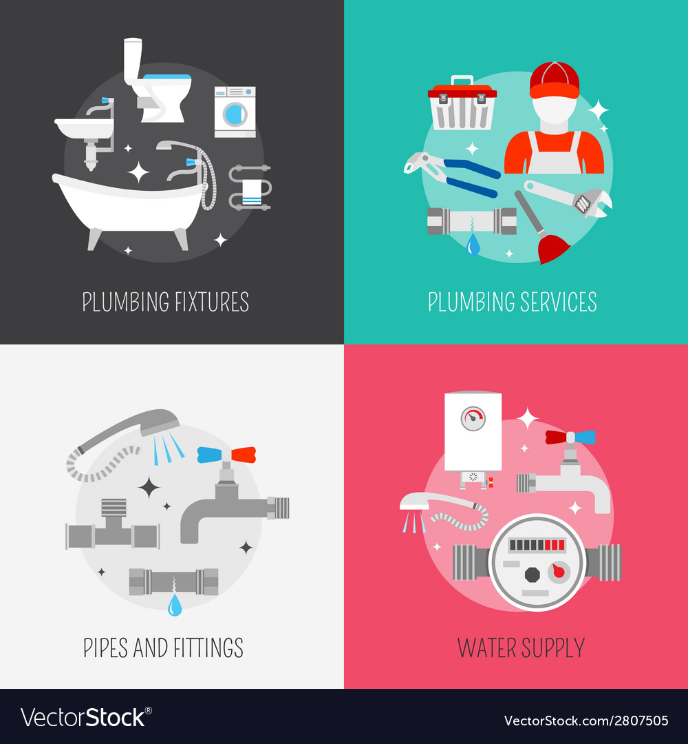 Plumber icon composition set vector   Price: 1 Credit (USD $1)