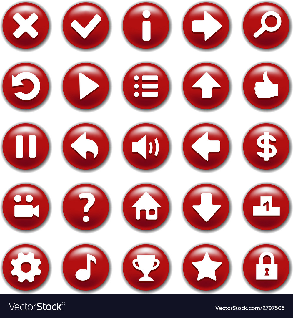 Red game buttons set vector   Price: 1 Credit (USD $1)