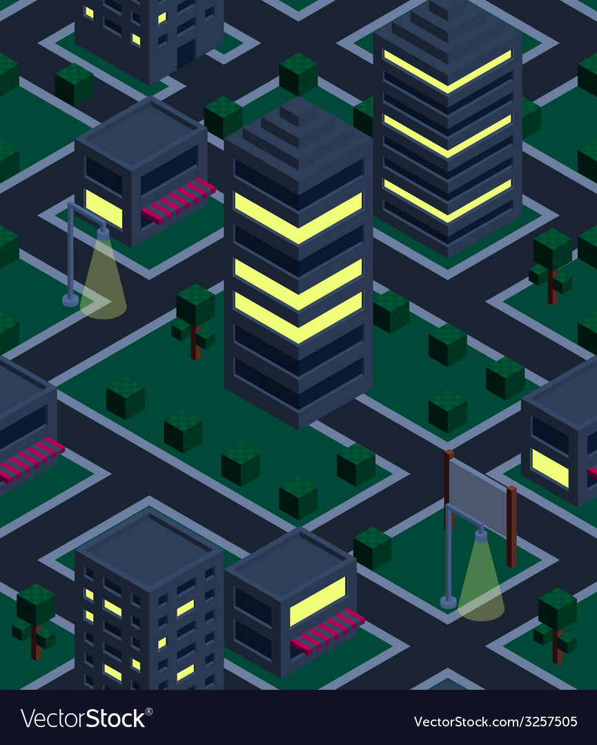 Seamless background night city isometric vector | Price: 1 Credit (USD $1)