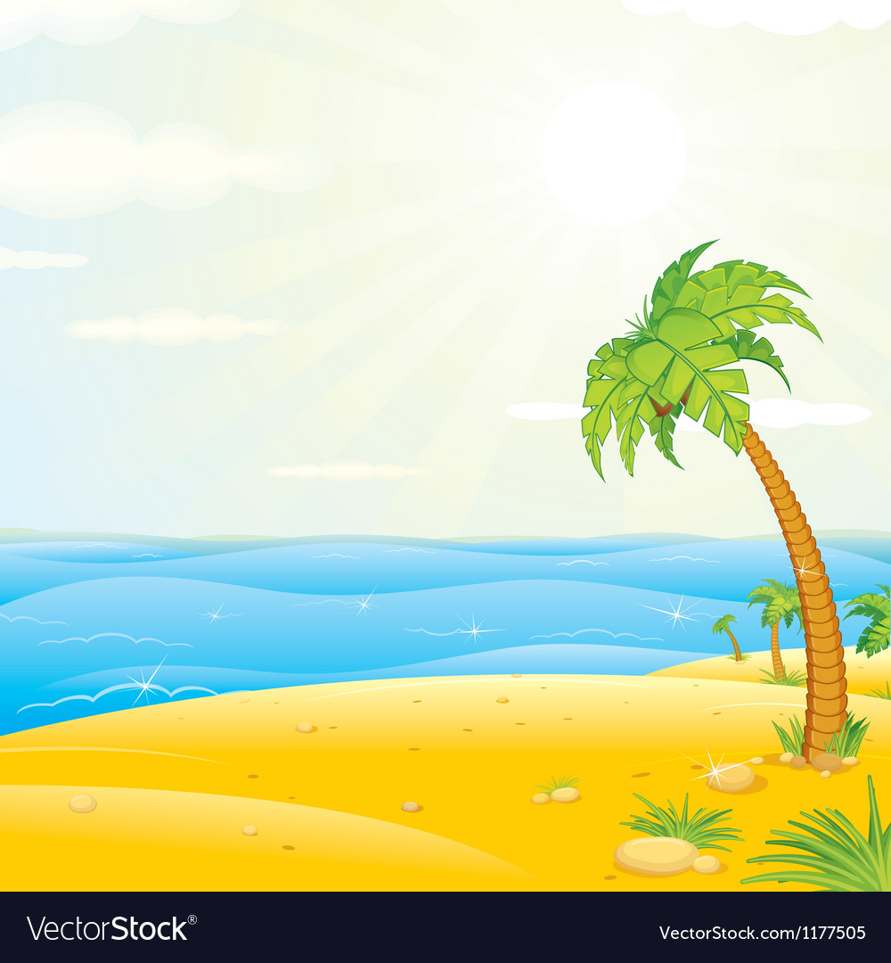 Sunny tropical island beach vector | Price: 1 Credit (USD $1)