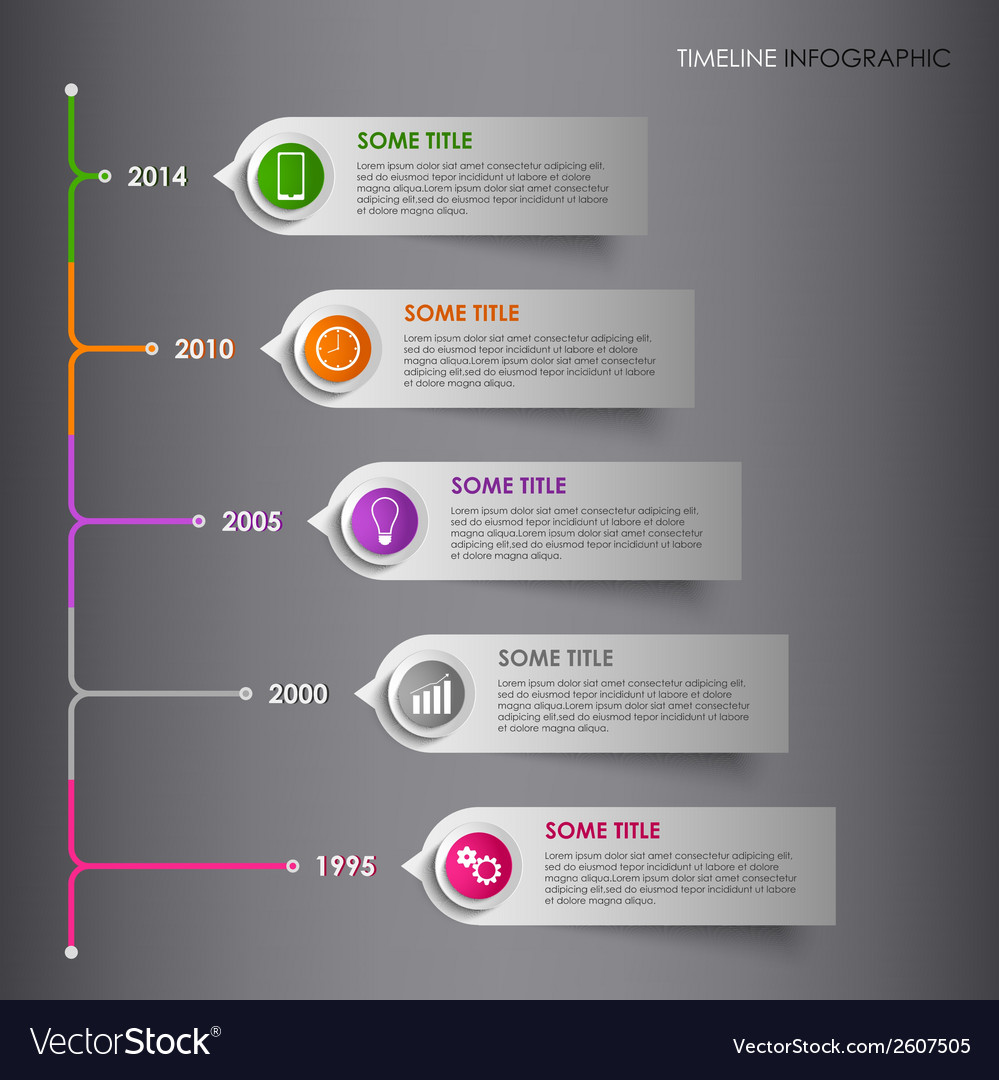 Time line info graphic colored striped template vector | Price: 1 Credit (USD $1)