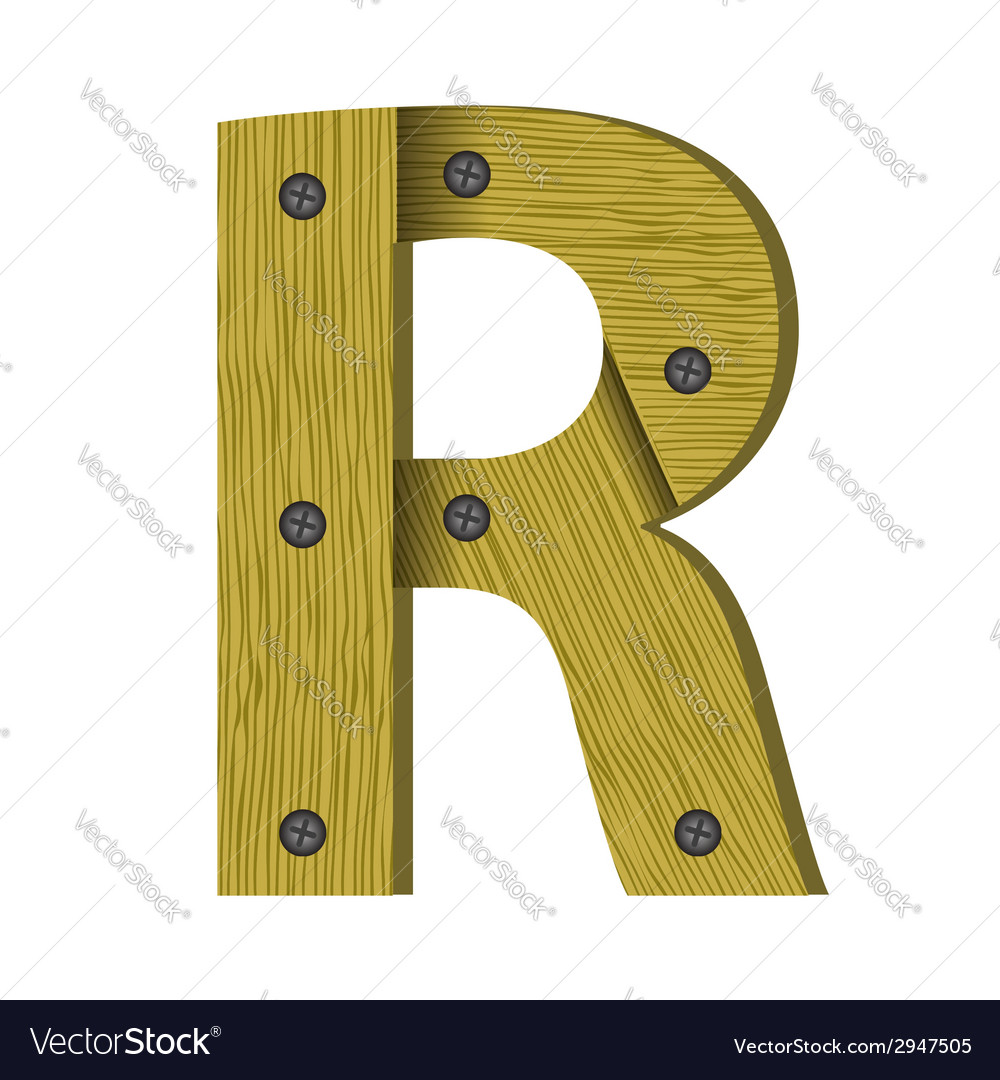 Wood letter r vector | Price: 1 Credit (USD $1)