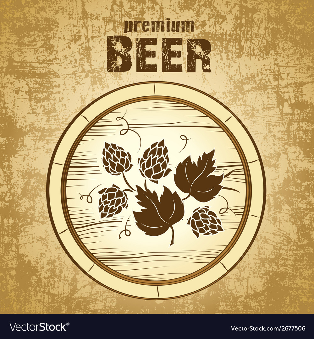 Beer keg with hop for label package vector | Price: 1 Credit (USD $1)