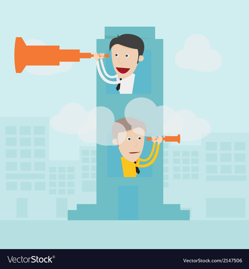 Businessman with binoculars spying on competitors vector | Price: 1 Credit (USD $1)