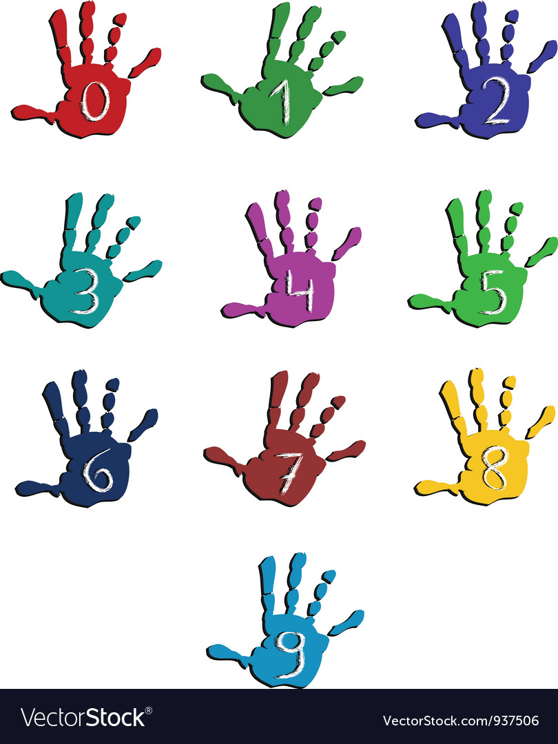 Colorful hand numbers vector | Price: 1 Credit (USD $1)