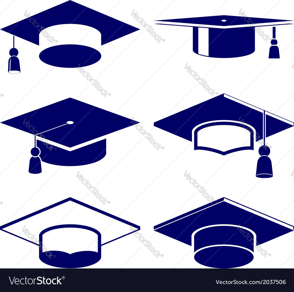 Graduation cap icon set vector | Price: 1 Credit (USD $1)