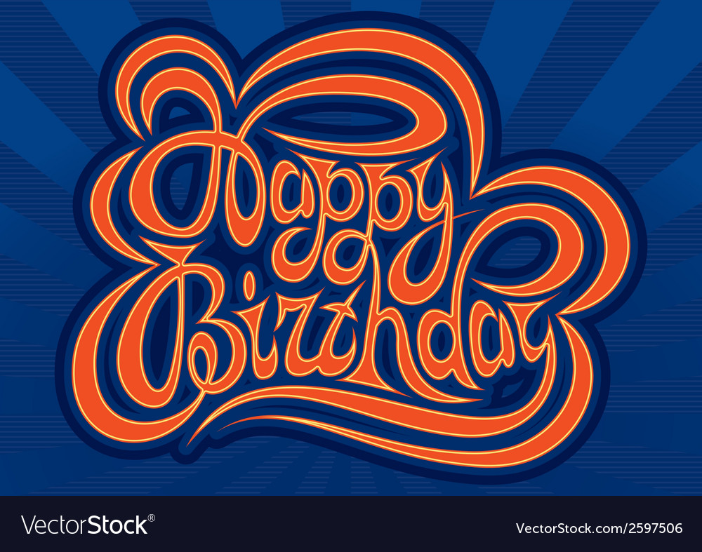 Happy birthday hand lettering handmade calligraphy vector | Price: 1 Credit (USD $1)