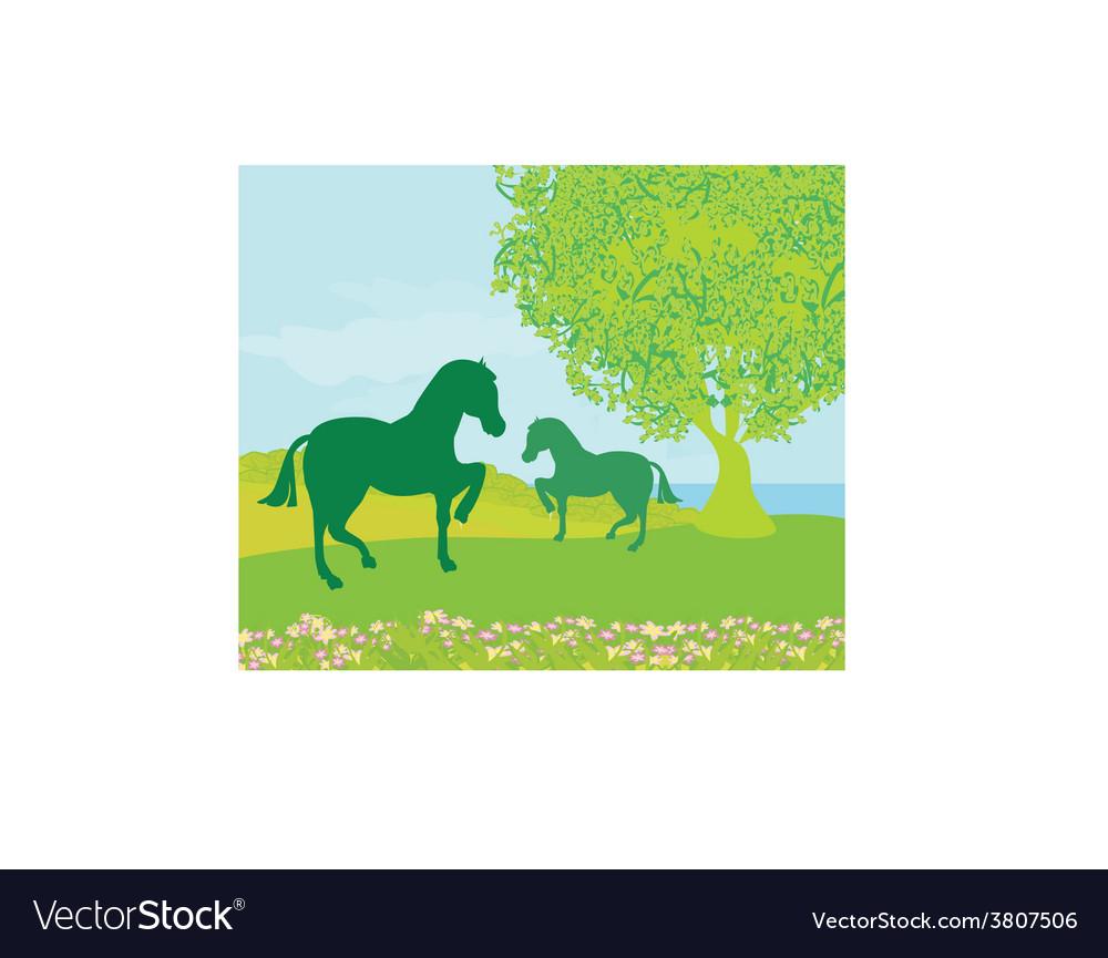 Horses in field vector | Price: 1 Credit (USD $1)