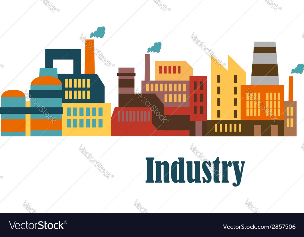 Industrial buildings flat design vector | Price: 1 Credit (USD $1)