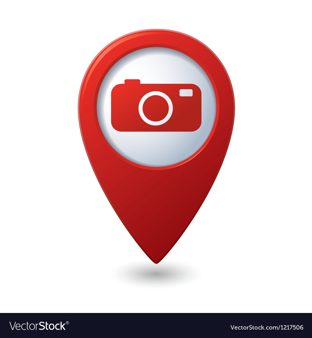 Map pointer with camera icon vector | Price: 1 Credit (USD $1)