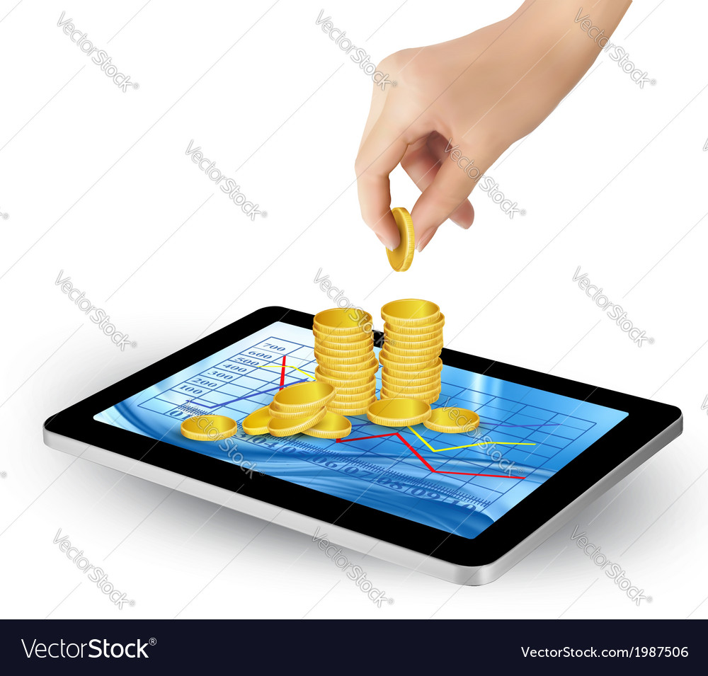 Pile of coins on a tablet internet job concept vector   Price: 1 Credit (USD $1)