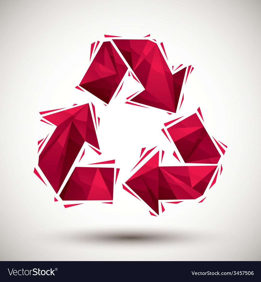 Red recycle geometric icon made in 3d modern style vector | Price: 1 Credit (USD $1)