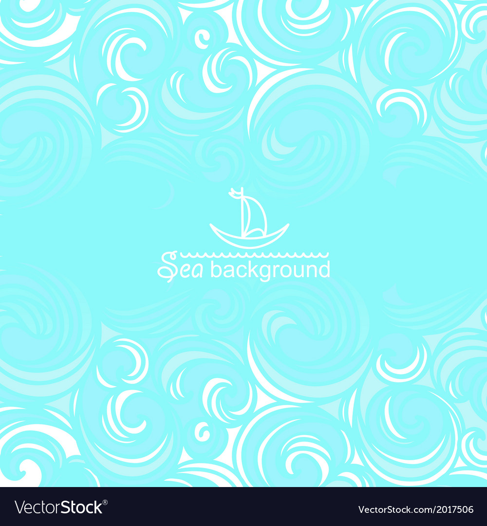Sea background with blue waves vector | Price: 1 Credit (USD $1)