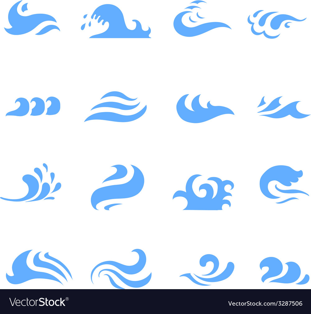 Set of wave symbol on isolated white background vector | Price: 1 Credit (USD $1)