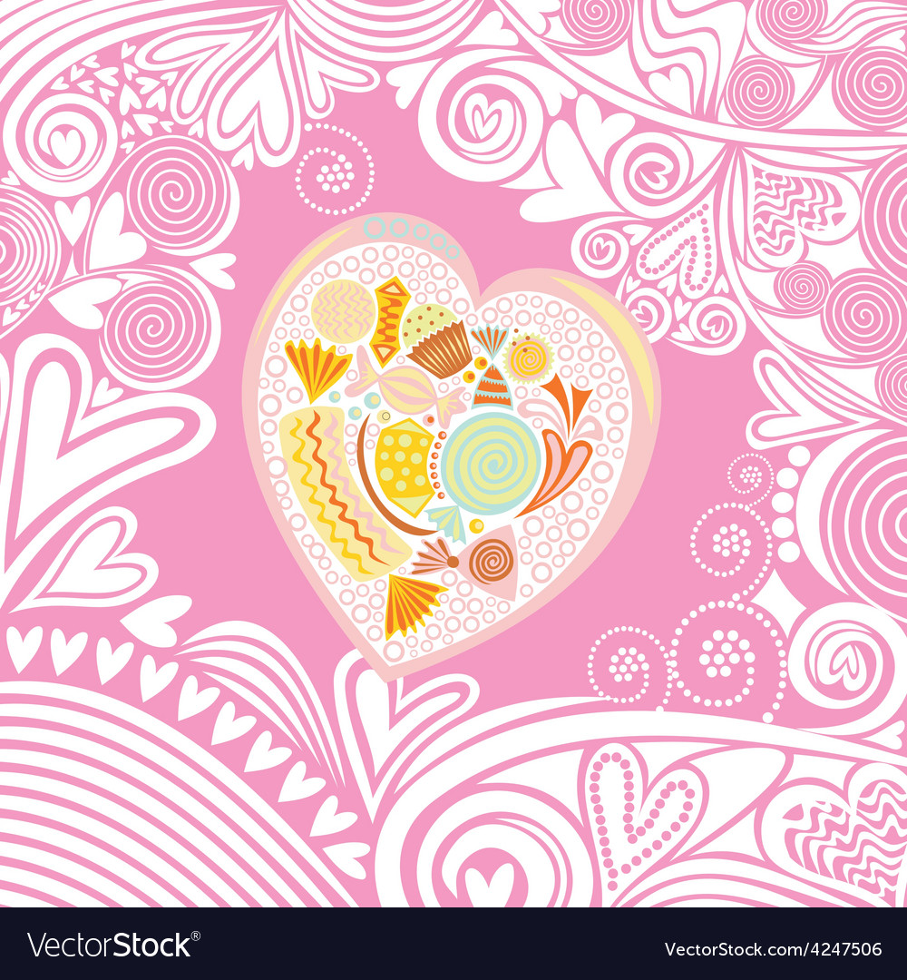 Valentines day card heart sweet vector | Price: 1 Credit (USD $1)