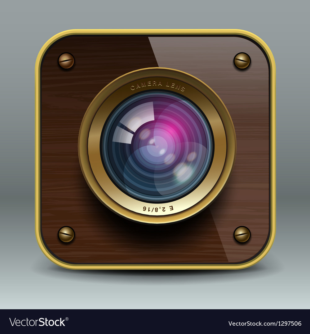 Wooden luxury photo camera icon vector | Price: 1 Credit (USD $1)