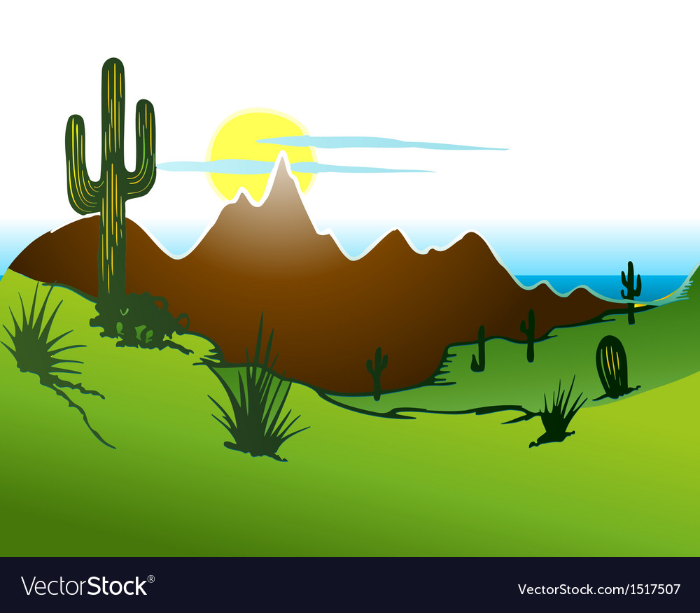 Cactus saguaro mountains and river vector | Price: 3 Credit (USD $3)
