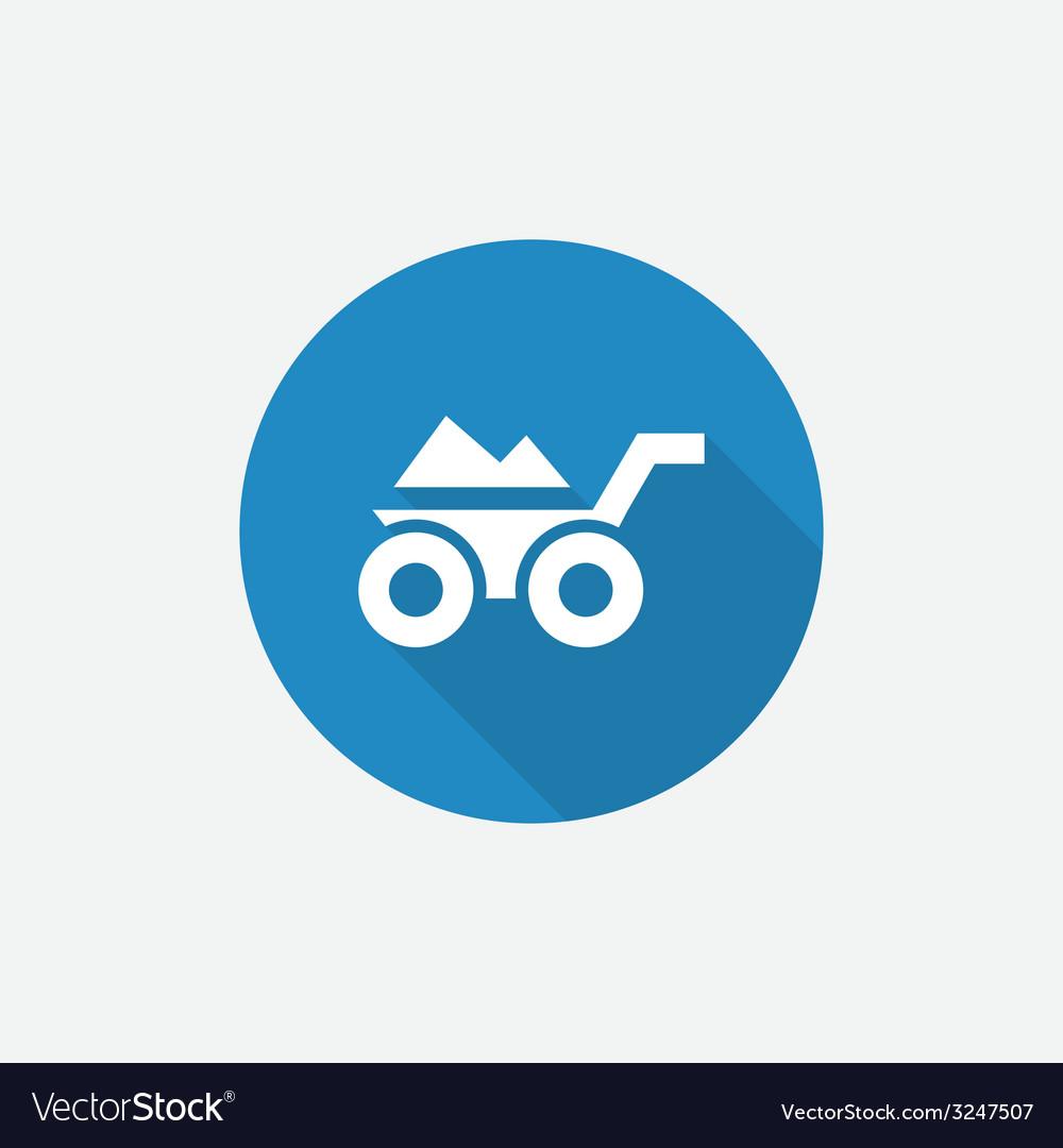 Construction wheelbarrow flat blue simple icon vector | Price: 1 Credit (USD $1)