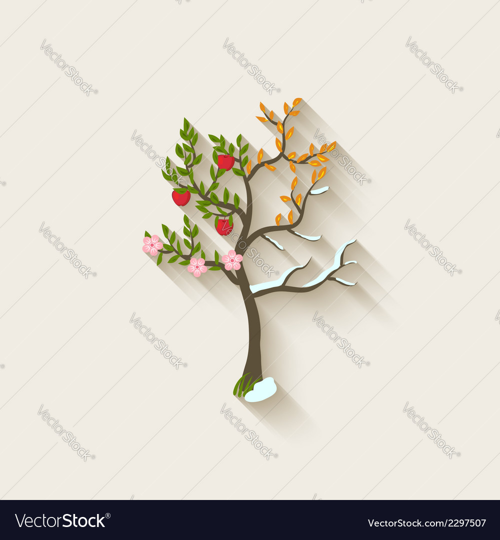 Four seasons trees vector | Price: 1 Credit (USD $1)