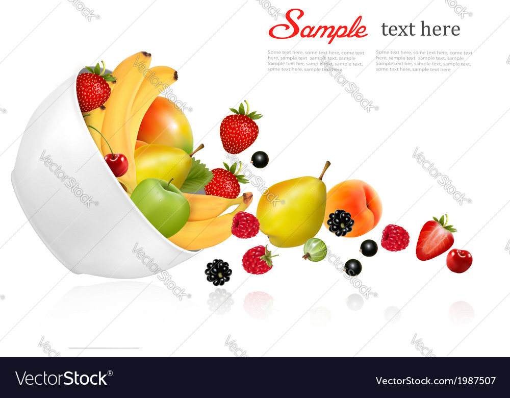 Fruit and berries falling from a bowl concept of vector | Price: 1 Credit (USD $1)