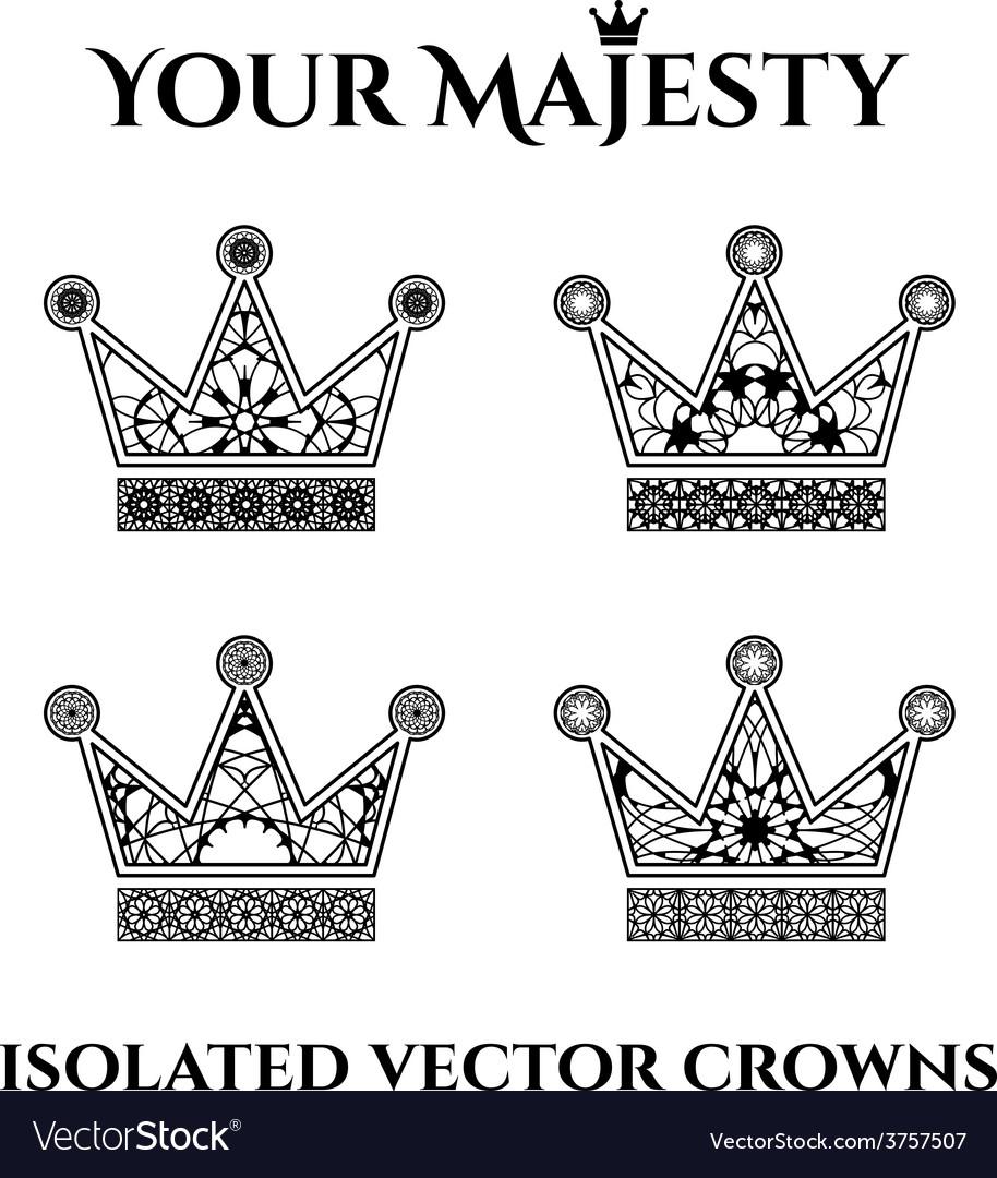 Ornamental crowns vector
