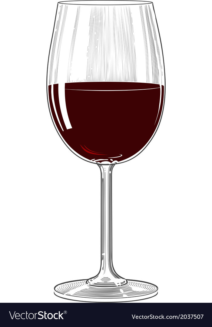 Red wine glass in vintage engraving style vector | Price: 1 Credit (USD $1)