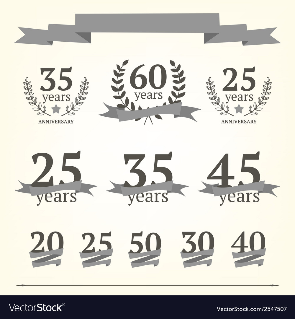 Set of anniversary signs vector   Price: 1 Credit (USD $1)