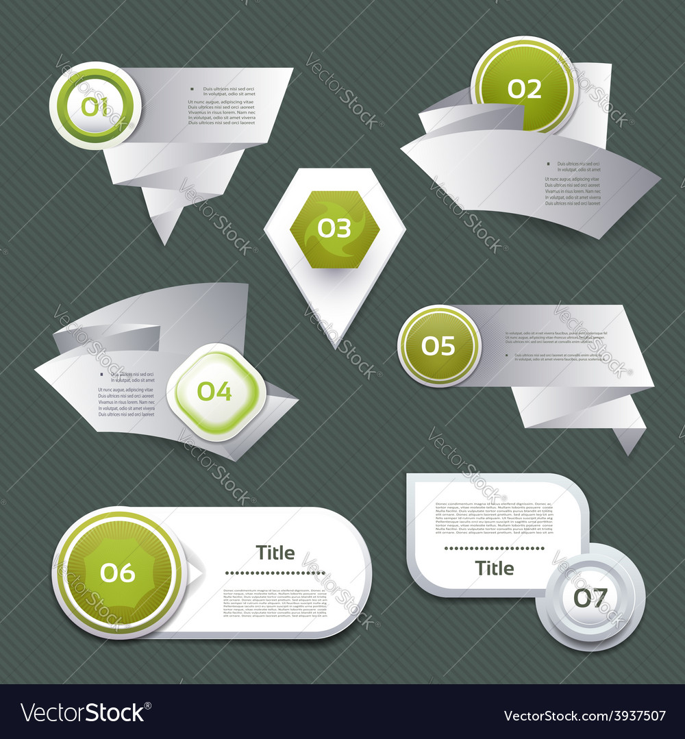 Set of green progress version step icons eps 10 vector   Price: 1 Credit (USD $1)