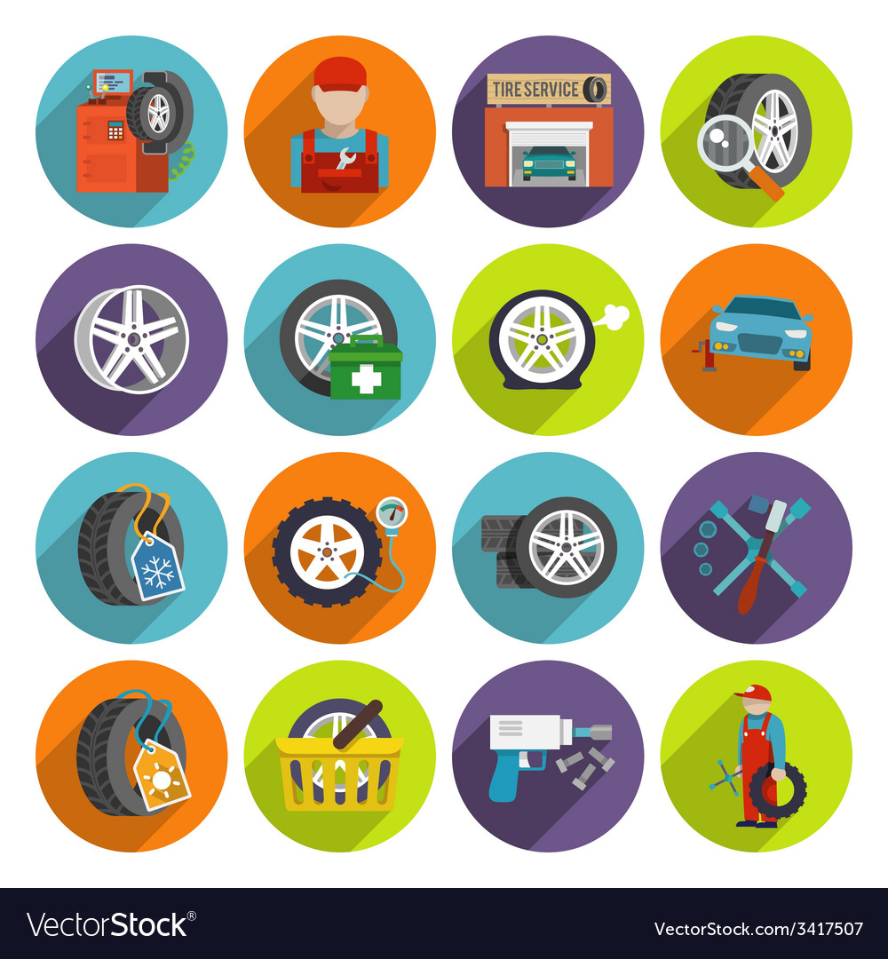 Tire service icon set vector | Price: 1 Credit (USD $1)