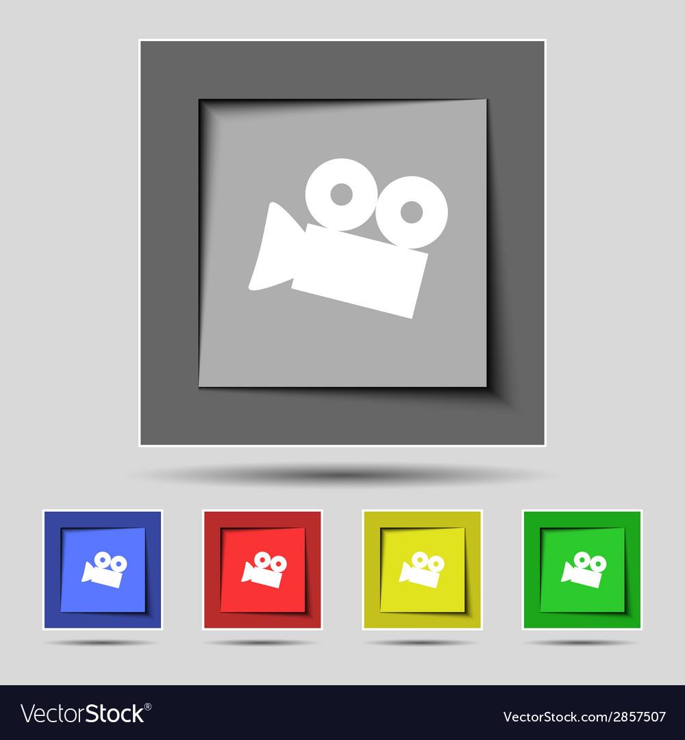 Video camera sign icon content button set vector | Price: 1 Credit (USD $1)