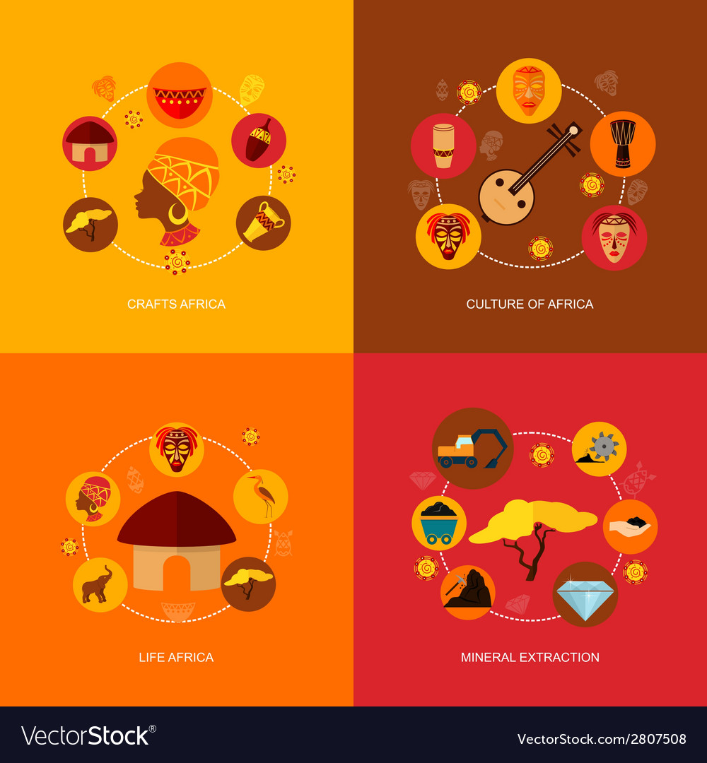 Africa icons flat composition vector | Price: 1 Credit (USD $1)